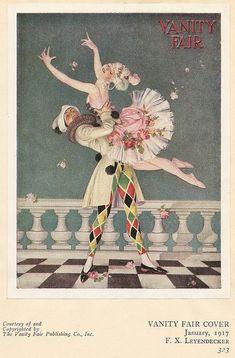 """Leyendecker: """"Harlequin"""" - Cover illustration for January 1917 issue of """"Vanity Fair"""" magazine Art Vintage, Vintage Circus, Vintage Posters, Vintage Artwork, Art Deco Illustration, Illustrations, Vanity Fair, Art Deco Vanity, Cover Art"""