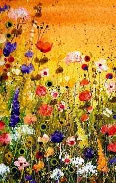 Acrylic Painting Flowers, Acrylic Art, Painting Abstract, Arte Floral, Art Oil, Landscape Paintings, Landscape Prints, Les Oeuvres, Flower Art
