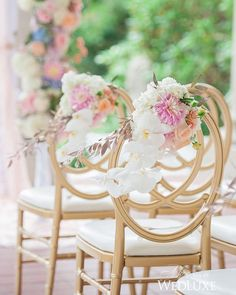 It's all about the little details! We love this delicate arrangement of blooms fastened to the backs of these #gold chairs- a perfectly dreamy touch! See more from this #Vancouver #wedding on WedLuxe.com and in our new S/F 2016 issue on newsstands NOW! (: @blushwedphotos, planning and design: @filosophi, floral: @flowerzinc, decor: @koncepteventdesign)