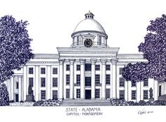 Alabama State Capitol in Montgomery.  More info at http://frederic-kohli.artistwebsites.com.