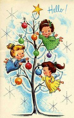 Vintage Illustration Vintage Christmas postcards and other holidays: Vintage Christmas Images, Old Christmas, Old Fashioned Christmas, Retro Christmas, Vintage Holiday, Christmas Pictures, Christmas Angels, Christmas Greetings, Christmas Postcards