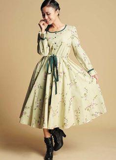 Maxi linen dress in Floral print  (364)