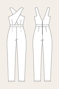 Line Drawing for the Ailakki Cross Front Jumpsuit by Named Patterns: