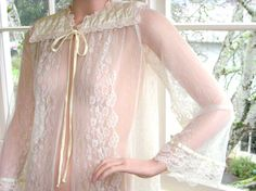 Rare Vintage 1970s Quilted Satin and Lace Bed Jacket Gunne Sax Gunnies by Jessica McClinock
