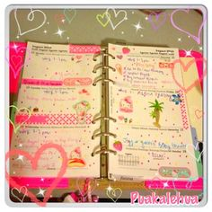The pages from my #filofax this week~ #pink #hellokitty #original #fluorescent