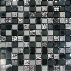 Sample-Decor Insert Black Silver Metallic Glass Mosaic Tile Backsplash Kitchen