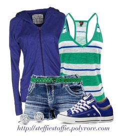 """Blue & Green Sporty Spring"" by steffiestaffie ❤ liked on Polyvore featuring Freddy, Converse, Mauro Grifoni and Blue Nile"