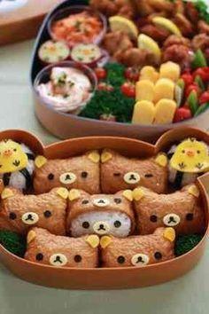 Great picnic bento with kids 行楽*キャラ弁*リラックマお稲荷さんの画像