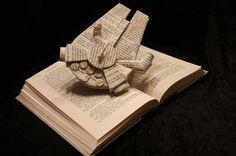 Millennium Falcon Book Sculpture