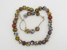 Vintage Multi Color Venetian glass Millefiori Bead Necklace 22'' Length by wandajewelry2013 on Etsy
