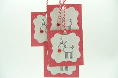 Christmas Reindeer Gift Tags, To From Tags, Set of 5 Gift Tags, Handmade Paper Christmas Tags. $4.00, via Etsy.