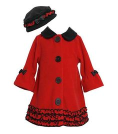 Elegant red and black dressy coat & hat set by Bonnie Jean (sz.12m-6x) - fab for holidays!