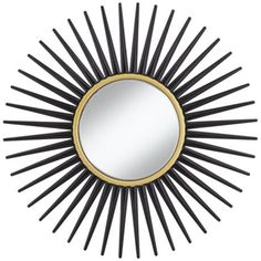 """Hathor Black Sunburst 34"""" Round Wall Mirror -"""