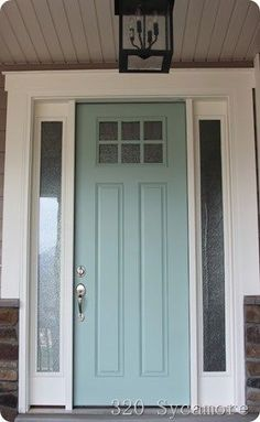 front door 320 sycamore -- color is Tidewater by Martha Stewart. I wonder if the HOA would approve this for the doors and shutters. Door Paint Colors, Front Door Colors, Favorite Paint Colors, Painted Front Doors, Decoration Inspiration, My New Room, Exterior Paint, House Painting, House Colors