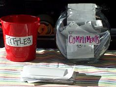 tattle jar for students to write their tattles down rather than come up to you, compliment jar to encourage students to be kind to each other: read the compliments at the end of the day - I would pretend them because bullies always find a way