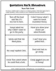 Quotation Mark Showdown Task Cards (free) Laura Candler's Teaching Resources has many free resources (in most curriculum subject areas) in addition to items she has for sale.