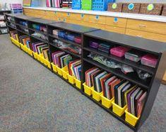 Bookshelf books sorted in yellow bins