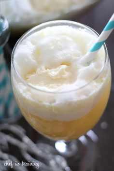 Pina Colada Punch!.. Only 4 ingredients (ginger ale, pineapple juice, vanilla ice cream and orange sherbet) that make a fruity, creamy and refreshing beverage. A definite crowd pleaser at parties!