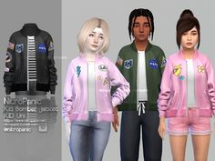 Sims 4 cc custom content kids clothing kid bomber jacket for the sims 4 default tees color is only white tees color changer can use to change color of the tees find under gloves category sims 4 hairs ~ simiracle anto`s alan hair retextured The Sims 4 Kids, The Sims 4 Bebes, Sims 4 Children, Young Children, Sims 4 Toddler Clothes, Sims 4 Cc Kids Clothing, Sims 4 Mods Clothes, Toddler Cc Sims 4, Children Clothing