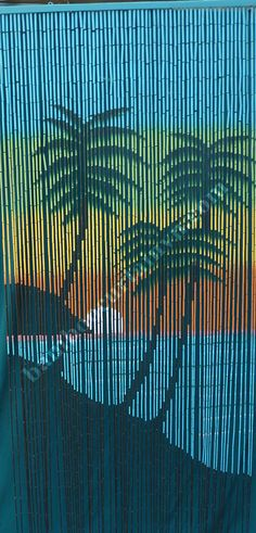Eco Friendly Feature Hand Painted Bamboo Door Sunset With Palm Trees