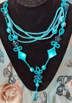 beaded and tatted long necklace Needle Tatting, Turquoise Necklace, Jewelry Making, Beautiful, Fashion, Craft, Moda, Fashion Styles, Jewellery Making
