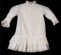 Dress, boy's, white cotton, trimmed with pintucks and crocheted white lace, 1884-1885