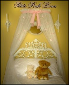 Crib Canopy Crown Princess Bed Pink Petite Bows by SoZoeyBoutique, $69.97