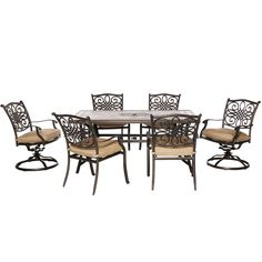 Hanover Outdoor Monaco 7-piece Dining Set, Patio Furniture
