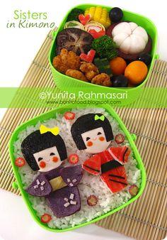 Sisters in Kimono Kyaraben Bento by Yunita Rahmasari, Indonesia ♥ Bento