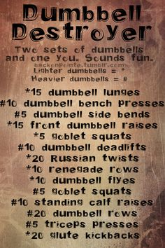 A new full-body dumbbell workout from Back On Pointe! - Dumbbell Destroyer. 2 pairs of dumbbells and one you.