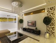 Stylish pop ceiling designs for living room with flat screen TV