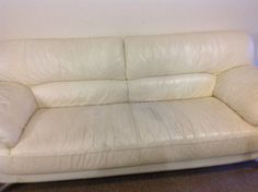 This is a white leather sofa, 1127067406 White Leather Sofas, Free Recycle, Love Seat, Couch, Furniture, Home Decor, Settee, Decoration Home, Sofa