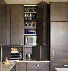 modern kitchen - love the sliding out cupboards to hide appliances Types Of Kitchen Cabinets, Kitchen Cabinet Design, Kitchen Storage, Cabinet Types, Oak Cabinets, Kitchen Doors, Bathroom Cabinets, Cupboards, Built In Storage