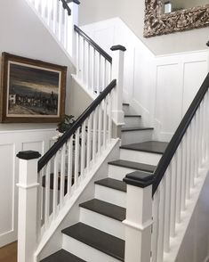 Staircase millwork board and batten interior design home decor design ideas Benjamin Moore simply white hardwood stairs