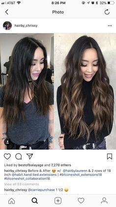 shorter hair for me, and a few of the hi lites running from the roots shorter hair for me, and a few Brown Hair Balayage, Hair Color Balayage, Hair Highlights, Dark Brunette Balayage Hair, Asian Balayage, Haircolor, Hair Color And Cut, Hair Color Asian, Dark Hair