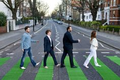 It was 45 years ago today . Ever since the image appeared on the front of their Abbey Road album, the crossing has become a place of pilgrimage. Scores of Beatles fans visit every day to recreate the famous pose. Abbey Road, Liverpool, Iconic Photos, Pilgrimage, Go Green, Shades Of Green, Dublin, The Beatles, Ireland