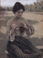 Domenico Baccarini - La cugina che fa la calza - 1905