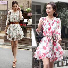 New Women's Korea Half Sleeve Crew Neck Chiffon Colorful Shiver Mini Pleated Dress Free Belt