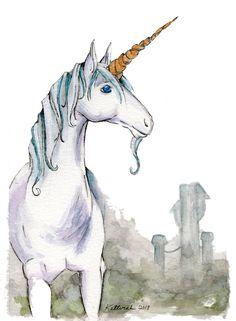 Giclee Unicorn Watercolor Painting Fantasy Art by KetturahsArt