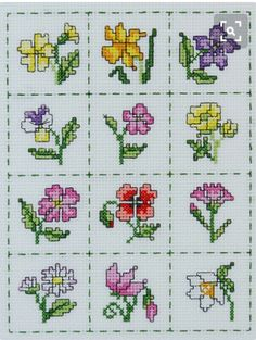 Stitch this set of twelve mini floral motifs to celebrate the year in flowers With a running stitch border and cheerful colours it will brighten up Tiny Cross Stitch, Cross Stitch Tree, Cross Stitch Bookmarks, Cross Stitch Cards, Cross Stitch Flowers, Cross Stitch Designs, Cross Stitching, Cross Stitch Embroidery, Cross Stitch Patterns