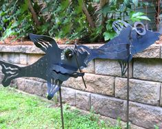 Birdhouses on Sale | Sale Bird Feeders | Bird Bath and Yard Art Sale - The Birdhouse Chick Unique Garden Decor, Unique Gardens, Garden Ideas, Fish Garden, Metal Art Projects, Garden Stakes, Yard Art, Bird Houses, Bird Feeders
