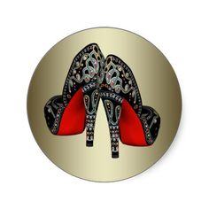 Red Black Gold High Heel Shoe Stickers