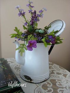 vintage enamelware coffee pot beautifully decorated for Spring