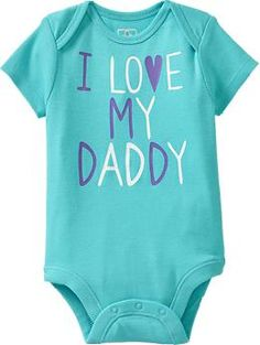 """Graphic Cap-Sleeve Bodysuits for Baby - Icy Blue """"I LOVE MY DADDY"""", purple & white lettering - 18-24mos."""