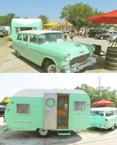 1955 Chevy Wagon and 1955 Pathfinder Travel Trailer. Classic car with a vintage trailer!