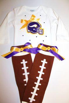 Girly Minnesota Vikings Onesie AND Football Leg by beyondbaskets