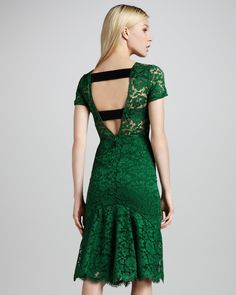 Wowsa! Is that elastic at the back? Burberry Prorsum Cutout-Back Lace Dress - Neiman Marcus