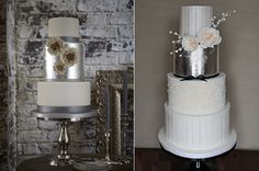 New Year's Eve wedding cakes in silver and white by Zoe Clark Cakes. left, Shannon Bond Cake Design right