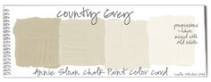 Colorways: Color Swatches. This is the perfect color for the cabinets in the Carriage House. Formula = Country Grey 3 parts + Old White 1 part