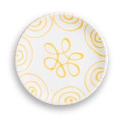 Gelbgeflammt, Dessertteller Cup (Ø 20cm) - hier geht's direkt zum Produkt #gmundner #keramik #handbemaltes #geschirr #interior Plates, Pure Products, Yellow, Tableware, Hand Painted Dishes, Handmade, Licence Plates, Plate, Dinnerware